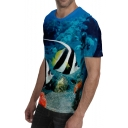 New Stylish 3D Fish Pattern Round Neck Short Sleeve Blue Casual Tee