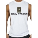 ARMY STRONG Letter Printed Round Neck Sleeveless Sport Cotton GYM Tank Top for Men