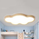 Cartoon Beige LED Ceiling Light Cloud Shape Wood Stepless Dimming Flush Mount Light for Study Room