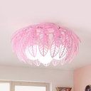 Hollow Leaf LED Flush Mount Light Macaron Loft Metal Ceiling Lamp in Blue/Pink/White/Yellow for Nursing Room