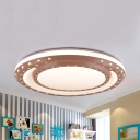 Metal Starry LED Ceiling Mount Light Living Room Macaron Style Warm/White Lighting Flush Light in Blue/Pink/Yellow
