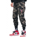 Cool Fashion Camouflage Letter Printed Flag Patched Flap Pocket Army Green Cotton Cargo Pants
