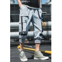 Summer New Fashion Solid Color Tape Patched Cropped Cotton Cargo Pants for Men