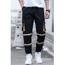 Men's New Fashion Colorblock Tape Patched Flap Pocket Side Drawstring Waist Black Hip Pop Cargo Pants