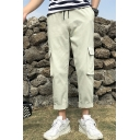 Men's Fashion Simple Solid Color Flap Pocket Drawstring Waist Cotton Casual Straight Cargo Pants