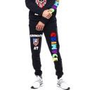 Fashion Letter CRIMACE Skull Printed Men's Black Casual Sport Sweatpants