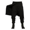 Designer Fashion Plain Patched Drawstring Waist Drop-Crotch Black Joggers Harem Pants