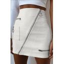 Summer Girls Cool Zipper Embellished Mini Bodycon White Skirt