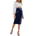 Womens Trendy Plain Blue High Rise Contrast Trim Midi Bodycon Pencil Skirt
