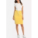 Womens Summer Hot Trendy Yellow Drawstring Waist Striped Side Midi Tube Skirt