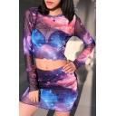 Womens New Stylish Blue and Purple Galaxy Printed Mini Bodycon Mesh Skirt