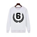Popular Number 6 Pattern Basic Round Neck Long Sleeve Pullover Sweatshirt