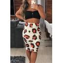 Womens Sexy High Waist Leopard Printed Bodycon Midi Skirt