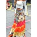 Womens Holiday Fashion Boho Style Orange Maxi Flared Skirt