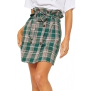 Womens Chic Vintage Green Plaid Printed Bow-Tied Waist Double Breasted Mini Skirt