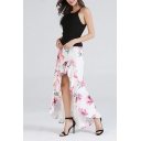Summer Trendy White Floral Printed Swallowtail Maxi Ruffled Skirt