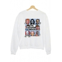Halloween Skull Figure THE PSYCHO BUNCH Print Basic Long Sleeve White Sweatshirt