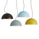 Etch Dome Shade Hanging Pendant Lamp Nordic Style Metal Suspended Lamp in Black/Blue/Green/White
