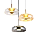 Single Light Drum Shade Hanging Light over Dining Table Post Modern Glass LED Drop Light in Amber/Clear/Smoke