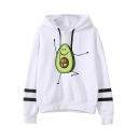 Popular Cartoon Cute Avocado Pattern Striped Long Sleeve Pullover Casual White Hoodie