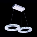 Double Halo Ring Suspension Light Contemporary Crystal LED Chandelier Lamp in Warm/White