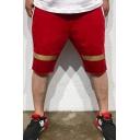 Summer Fashion Colorblock Diagonal Stripes Printed Drawstring Waist Men's Sports Sweat Shorts