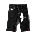 Summer Stylish Crane Printed Ripped Detail Rolled Cuffs Zip-fly Black Denim Shorts for Men