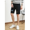 Men's Summer Fashion Colorblock Destroyed Ripped Detail Black Casual Denim Shorts