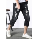 Men's Summer Trendy Embroidery Patched Black Cropped Ripped Jeans