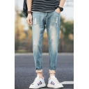 Men's Fashion Retro Washed Rolled Cuffs Casual Zip-fly Tapered Jeans