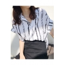 Summer Trendy Vertical Striped Printed Short Sleeve Loose Fit Shirt