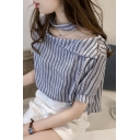 Unique Fashion Striped Printed Cutout Boat Neck Casual Blouse for Women