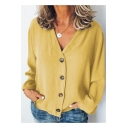 Trendy Plain V-Neck Long Sleeve Womens Button Down Chiffon Blouse Top