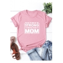 THE FORCE IS STRONG WITH THIS MOM Print Round Neck Short Sleeve Casual Cotton Tee