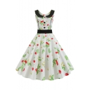 Vintage White Peter-Pan Collar Sleeveless Cherry Print Button Front Midi Fit and Flared Dress