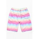 New Stylish Ombre Color Drawstring Waist Beach Shorts Swim Trunks for Guys