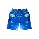Men's Summer Casual Cartoon Fish Printed Blue Quick Drying Elastic Waist Beach Shorts Swim Trunks with Pockets