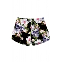 Womens Fashion Skull Floral Printed Quick Dry Casual Swimwear Beach Shorts