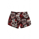 Womens Trendy Red Floral Skull Printed Casual Loose Beach Shorts Swimwear