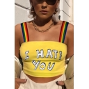 Womens Trendy Unique Rainbow Straps Letter I HATE YOU Print Yellow Slim Crop Cami Top