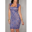 Womens New Trendy Sleeveless Mini Bodycon Lace Dress