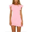 Girls Summer Fashion Plain Round Neck Flutter Sleeve Mini Sheath Ruffled Dress