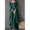 Womens Retro Chinese Style Round Neck Plain Maxi Swing Dress