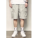 Men's Summer New Fashion Large Flap Pocket Side Drawstring Waist Simple Plain Loose Cargo Shorts