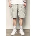 Men's Summer New Fashion Large Flap Pocket Side Drawstring Waist Simple Plain Loose Cargo Shorts