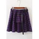 Girls Cool Buckled Ribbon Elastic Waist Zipper Pocket Purple Plaid Print Mini A-Line Skir