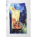 Unique Trendy Restaurant Oil Painting Split Back Midi Pencil Skirt for Women