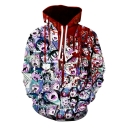 Popular Ahegao Comic Anime Fire Character Print Long Sleeve Loose Fit Hoodie