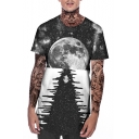 Fashion Grey Galaxy 3D Printing Basic Round Neck Short Sleeve Hipster T-Shirt