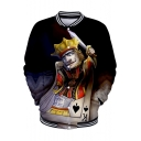 Funny Cool 3D King Poker Card Print Rib Stand Collar Button Down Baseball Jacket